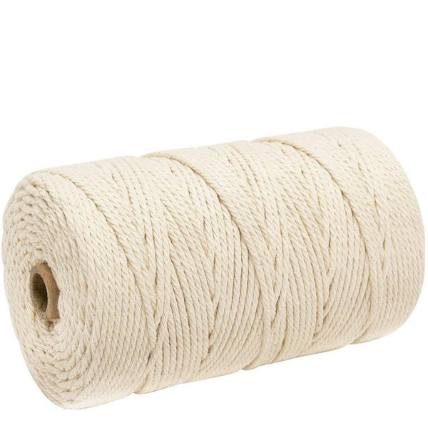 best selling Durable 200m White Cotton Cord Natural Beige Twisted Cord Rope Craft Macrame String DIY Handmade Home Decorative supply 3mm 4.43