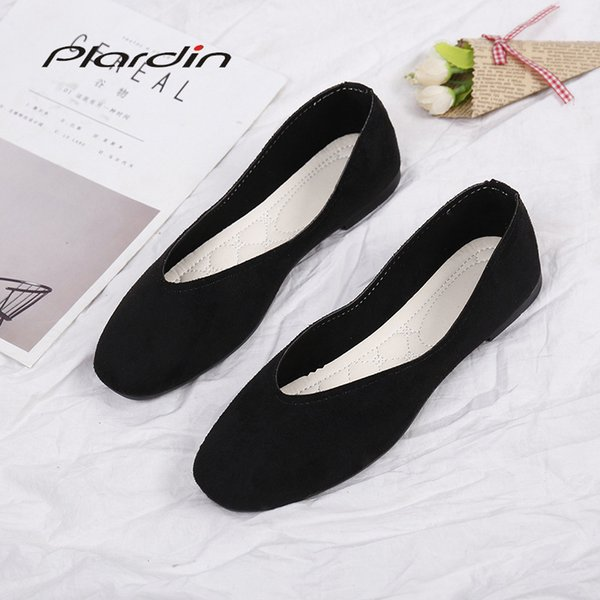 plardin 2019 fashion flock women's flats for new summer slip-on round toe casual flat shoes basic ballet shoes woman size plus - from $27.68