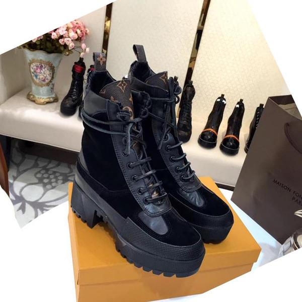 Yüksek kaliteli Kadınlar Lüks çizmeler Deri ayak bileği çizme tıknaz topuk Martin ayakkabılar Baskı Deri Platformu Çöl Boyut US10 ait Boot Dantel-up