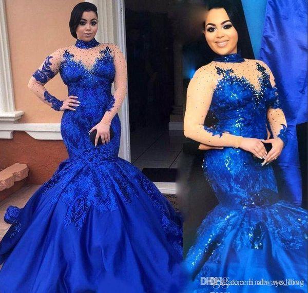 2019 Fashion High Neckline Prom Kleid Mermiad Langarm Formale Feiertage Tragen Abschlussfeier Festzug Kleid Nach Maß Plus Größe