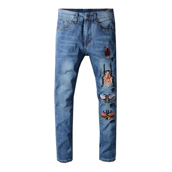 2019 SexeMara NEW ITALY STYLE distressed men destroyed pants snake skin patches black Skinny Biker Slim Jeans Pants #3309