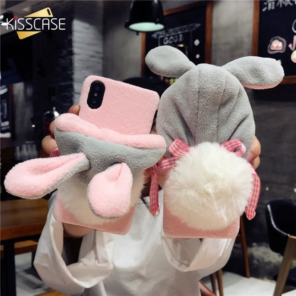Christmas Hat Phone Case For Iphone 7 6 6s Case Lazy Rabbit Fluffy Case For Iphone X 8plus Iphone 7 7 Plus Fundas Cover