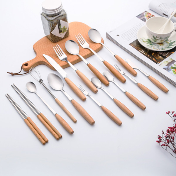 top popular Hot Sale stainless steel dinnerware tableware with beech wood fork spoon knife set high quality cutlery can use as gift 2021