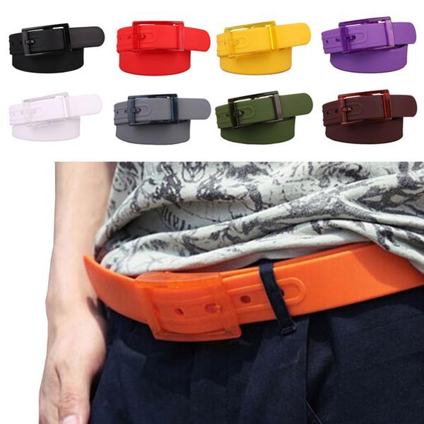 Cinturini regolabili per donna unisex da uomo Cintura in silicone impermeabile Candy Jelly Gomma Plastica Metallo Fibbia libera Cinture Jeans per studenti Cinturini per pantaloni