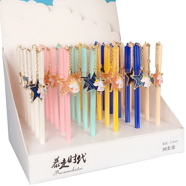 36 pcs Gel Pens Cartoon Kawaii Unicorn Pendant black colored gel-inkpens for writing Cute stationery office school supplies
