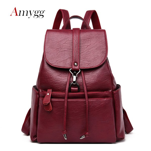 2019 Vintage Drawstring Women Backpack High Capacity Travel Backpack Women PU Leather School Bag For Teenage Girls Mochila From Hineinei, $33.63 |