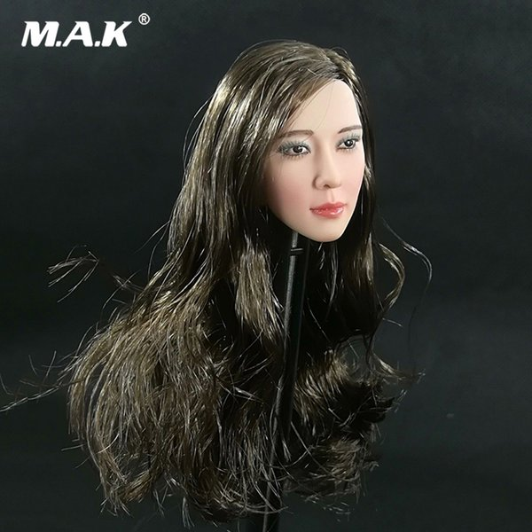 Collectible 1/6 Scale Female Head Sculpt Heavy makeup Long Hair Model for 12inches Action Figure Body Accessory