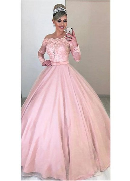 Pink Long Sleeves A-Line Prom Dresses 2020 Detachable Train Long Women Evening Party Gowns Two Pieces Formal Modest Special Occasion Dress