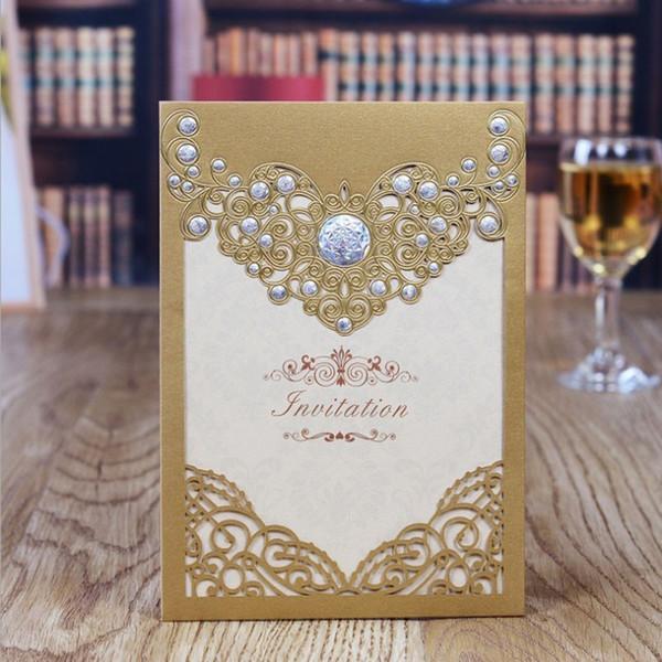 Gold/White/Red Laser Cut elegant Pattern Wedding invitations Card Blank Insert Luxury Wedding Card invitations 10pcs/lot