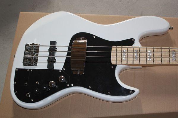 I più venduti Frassino corpo bianco Marcus Miller Signature 4 corde Jazz Bass Electric Guitar manico in acero, fili attivi 9V Battery Box