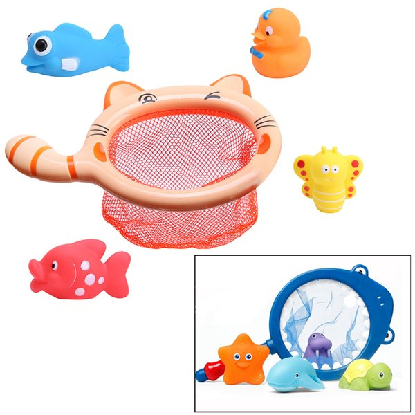 1 Sets Fishing Toys Network Bag Pick Up Duck & Bee & Fish Kids Toy Orange Blue Swimming Classes Summer Play Water Bath Toy
