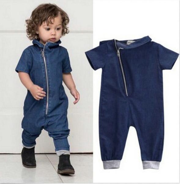 New Style Baby Denim Pagliaccetti Bambini jeans abbigliamento per bambini Manica corta Denim Zipper Tuta Abbigliamento infantile ragazzi ragazze tuta