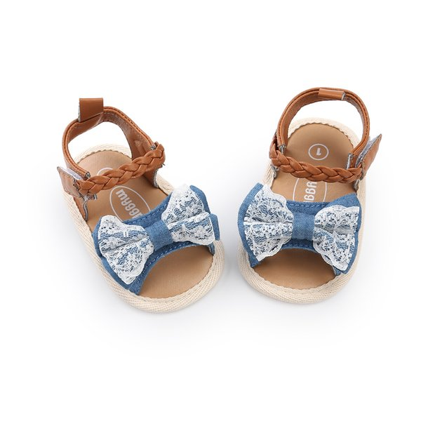 Newest Kids Sandals Soft bottom anti-skid baby sandal kids girl Lace Denim Patchwork Bow baby First Walkers shoes 3 colors