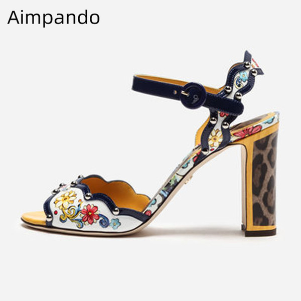 print flower sandals woman peep toe slim shallow shoes female chunky square high heel sandalias ankle buckle decor rivet sandals