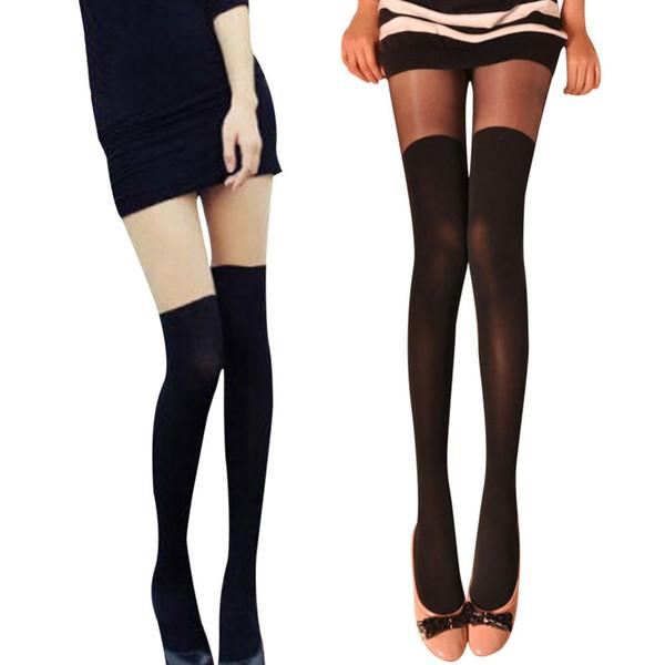 Calze solide modello donna sexy collant fantasia con collant sopra il ginocchio