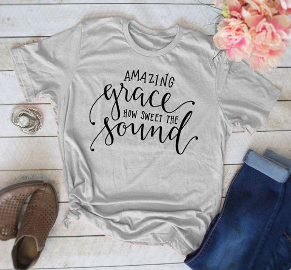 Das T-Stück der Frauen erstaunliche Gnade, wie süß der Ton kühles christliches T-Shirt Religiöse T-Stücke Damenmode-Kleidung T-Shirt Tops