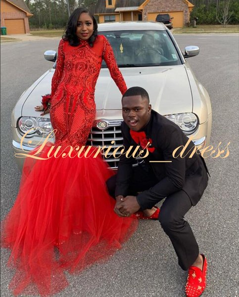 Gorgeous Red Mermaid Prom Dresses African Black Girl Sequin Top High Neck Long Sleeve Floor Length Party Prom Gowns 2019 Evening Dresses