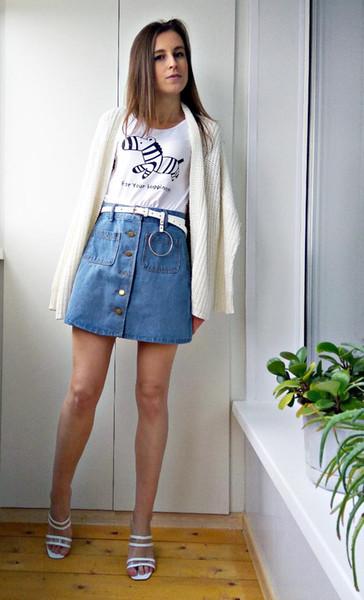 In vendita 2019 estate Donna Gonna jeans a-line Gonna jeans doppie tasche harajuku bottone in metallo dorato Gonna saia jupe dolce ragazza