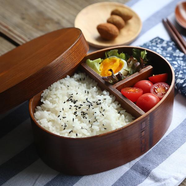 scatola di pranzo giapponese bento legno naturale fatto a mano di legno contenitore di sushi da tavola ciotola contenitore di alimento 2 colori EEA721-1