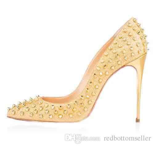 2018 Fashion Red Bottom Shoes Ffollies Women Rivets High Heels Dress/party Shoes Super Stiletto High Heel Rivets Pumps size EU 35 to 42