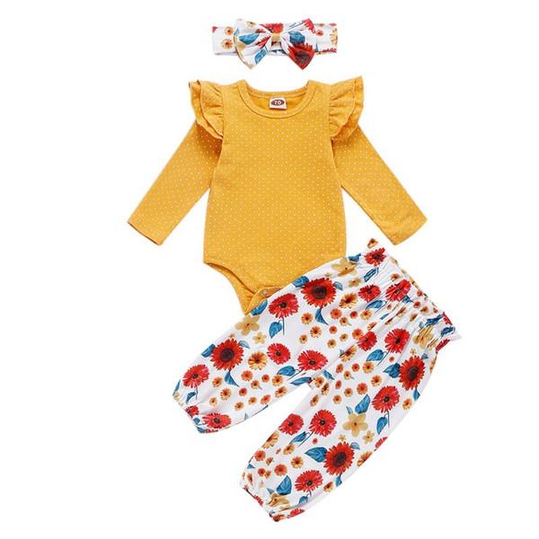 New Automne Vêtements de bébé pour les filles Trois Pièces Mode Jaune Manches longues Fleurs Bodysuit Imprimer Pantalon cheveux bande du nouveau-né