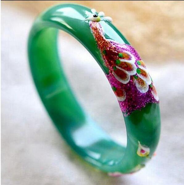 Compre Natural Verde Pulseiras Desenho Colorido Pavao E Flor