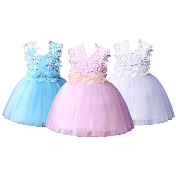Pettgirl Mode Dentelle Crochet Gilet Filles Robes De Fête Costumes Enfants Vêtements D'été Filles Robe Brun Enfants Vêtements