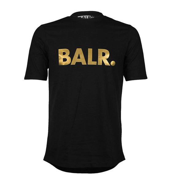 Maglietta marca BALR T-shirt estiva moda nera e oro
