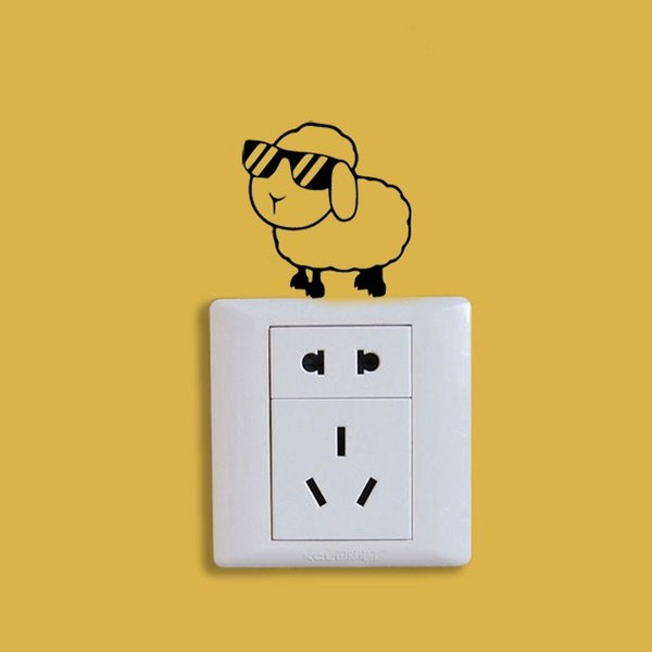 Funky Sheep Switch Sticker Creative Cartoon style Vinyl Waterproof Wall Stickers For Kids Rooms