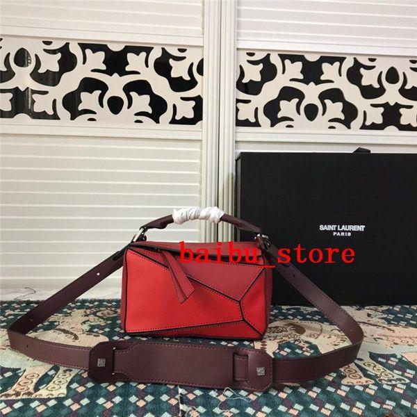mini puzzle bag Luxury designer handbags fashion genuine leather 21cm women shoulder bag geometric handbag evening bag 14 colours 2 style