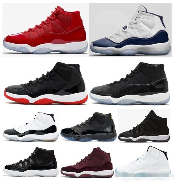 2018 11 XI Bred Gym Red 11S Space Jam Concord UNC Legend Gamma Blue Velvet Men Midnight Navy Shoes 72-10 High Athletic Sport Sneakers 8-13