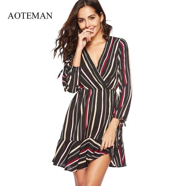 Aoteman Sexy Summer Dress Women New Casual V-neck Striped Ladies Dresses Elegant Vintage Beach Party Dress Vestidos Verano 2018 Y19050905