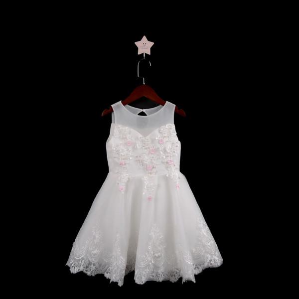 Yeni Boncuk Katmanlı Etekler Çiçek Kız Elbise 2019 Dantel Aplike Küçük Çocuklar İlk Communion Elbise Bow Kanat Pageant Abiye
