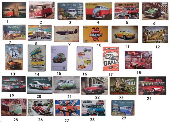 vintage wall art metallo targhe di latta metallo pittura auto bus aereo retro pittura club bar room decor targa poster da parete in metallo segni di automobili