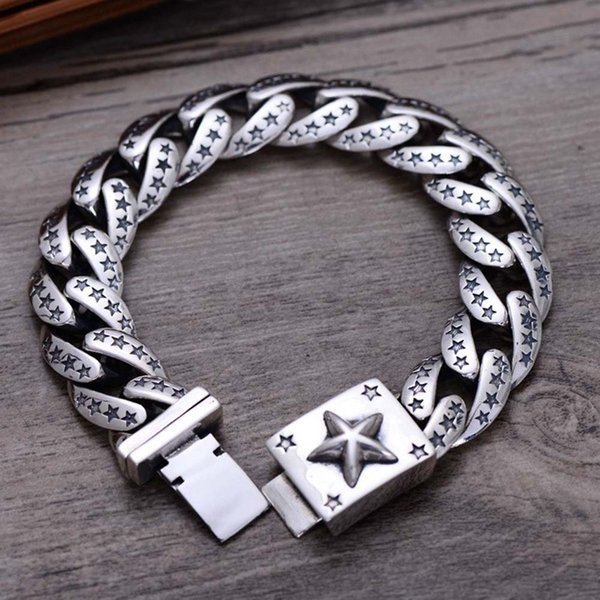 Rhodium Plated 925 Sterling Silver Retro Jewelry Five-Pointed Star Chunky Silver Curb Chain Bracelet for Men