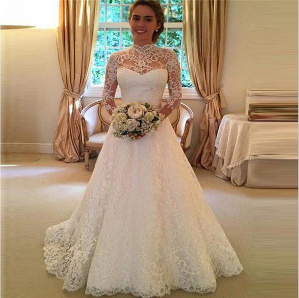 New sexy wedding dresses lace long sleeve perspective wedding dress long skirt embroidery openwork dress multi-layer light gauze dress