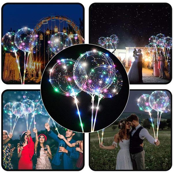 Reutilizável Luminosa LED Balão Transparente Bolha Redonda Decoração Festa de Casamento LED Bolha Balão de Presente de Natal + 2xSticks Nov # 3