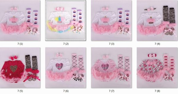 baby tutu rompers dress 6sets Christmas Rompers dress + ruffles leg warmer + cotton walking shoes + girl crochet headbands 6 piece/set PP006