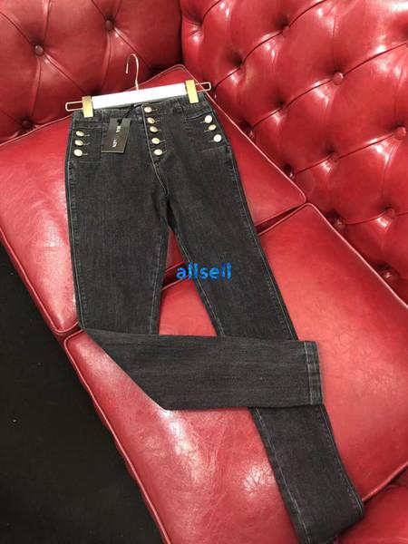 MONOPETTO casuale sottile denim lungo matita dei pantaloni dei pantaloni di design di lusso della pista di modo di fascia alta tono oro i jeans delle donne ragazze patchwork