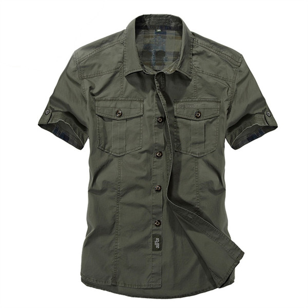Casual dress shirt men slim fit  style army green male for boys khaki mens short sleeve cotton designer Breathable