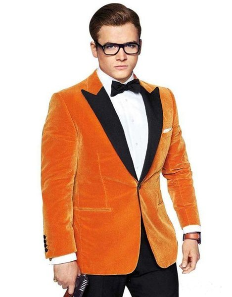 New Stylish Design Groom Tuxedos One Button Velvet Peak Lapel Groomsmen Best Man Suit Mens Wedding Suits (Jacket+Pants+Tie) 919