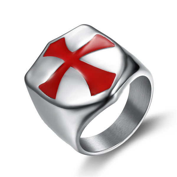 Black Gold Silver High Shining Polished Stainless Steel shield armour Red Enamel Cross Knights templar sword Masonic wedding ring customized