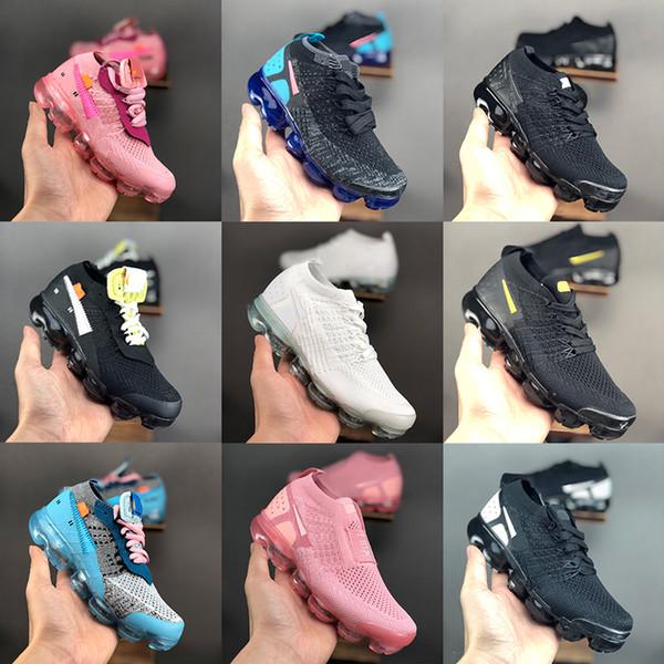 Enfants Off Moc 2.0 3.0 Fly Vapeurs Sneakers Designer Big Boys Filles Air Chaussures de course Blanc Noir Rose Sport Baskets Maxes Knit Chaussures