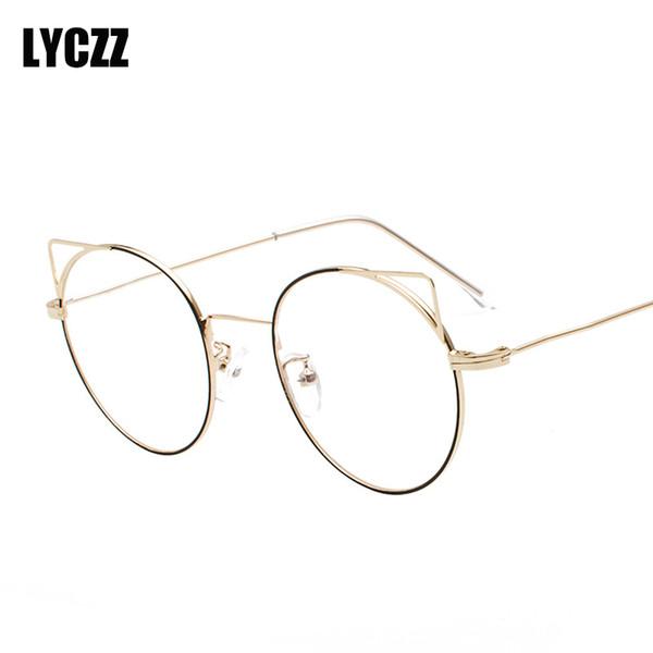 LYCZZ Estudiante Redondo Oro Astilla Orejas de Metal Marco de gafas de ojo de Miopía Para Mujeres Retro óptico Claro Espectáculo gafas Dioptrías
