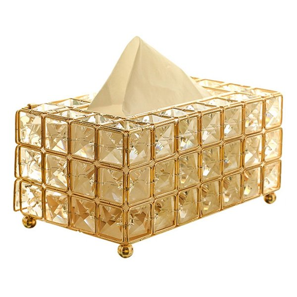 Style Metal Crystal Tissue Box Removable Tissue Napkin Holder Kitchen Living Room Dining Room Decoration
