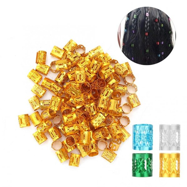 100pcs réglable perles de tresse de cheveux anneaux accessoires de perruque outil de décoration de cheveux