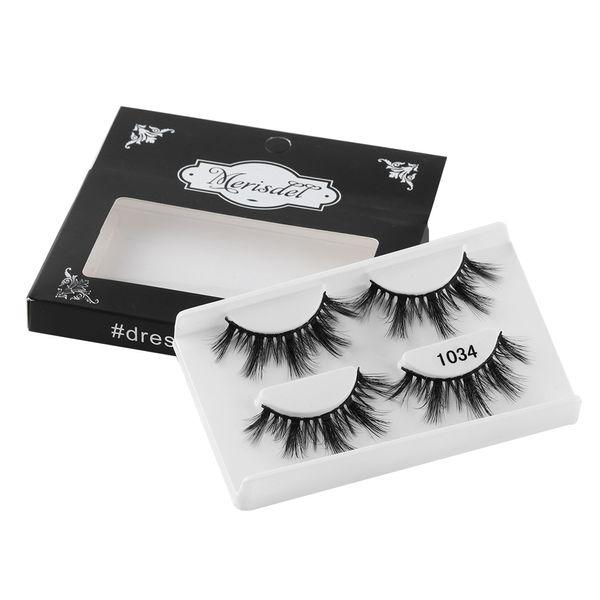 2 Pairs Handmade 3D Mink Hair False Eyelashes Wispy Natural Long Glam Lashes 100% Cruelty free Reusable Eye Makeup Tools