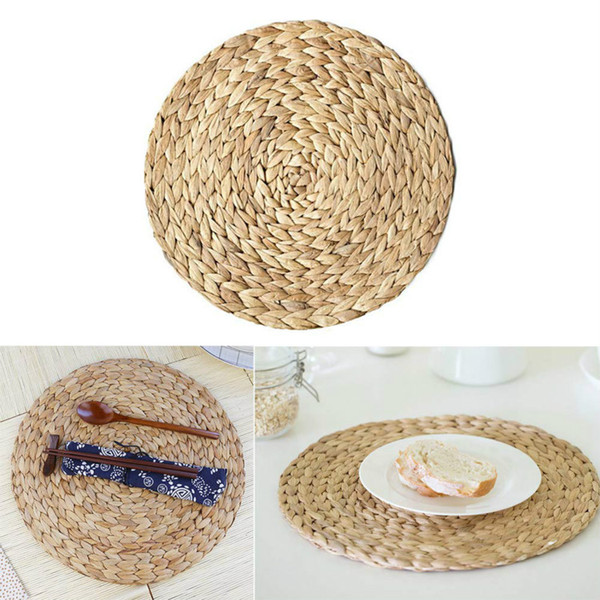 4Pcs/Set Placemats Straw Braid Table Woven Round Cup Mat, Natural Handmade Woven Table Placemat Insulation Resuable Pad for Home