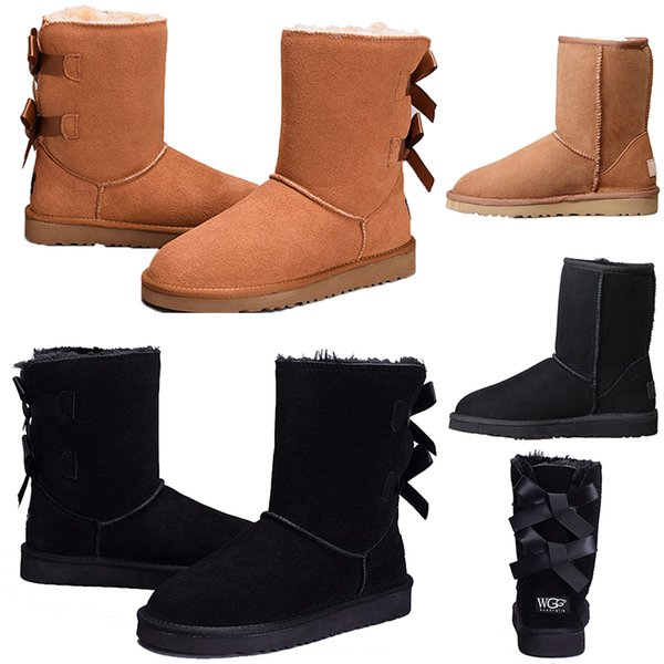 Hot sale Winter MINI Women's Australia Classic kneel ankle Boots Bailey boots Black Grey chestnut navy blue red Women girl boots size 5-10