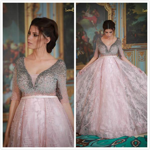 Perlen Kristalle 2019 Arabisch Abendkleider Tiefem V-Ausschnitt A-Linie Spitze Prom Kleider Rosa Sexy Formale Party Brautjungfer Pageant Kleider